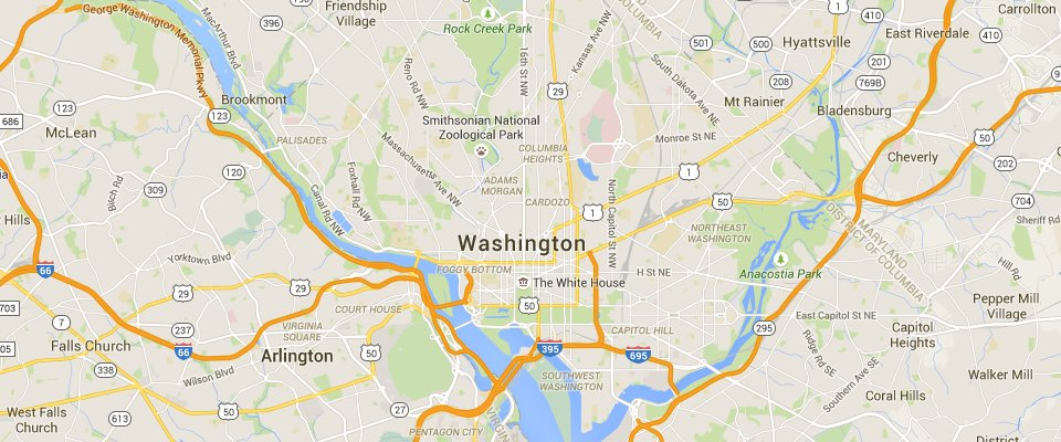 Washington D.C. Dumpster Rental Service Area Map